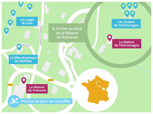 Plan d'accès LE DUCHET - Prénovel - Jura